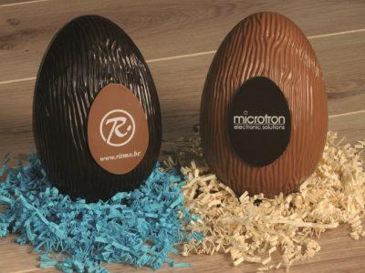 paasei chocolade 18cm gepersonaliseerd ritmo en microtron