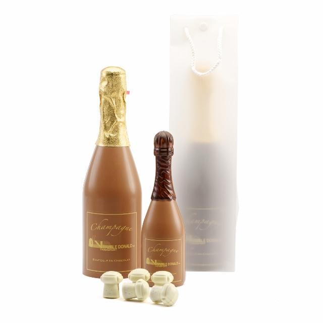 Champagneflessen chocolade bedrukt